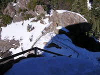 Looking down the snowy/icy steps of Moro Rock