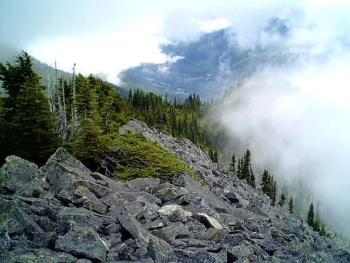 Looking down a ridge into the...