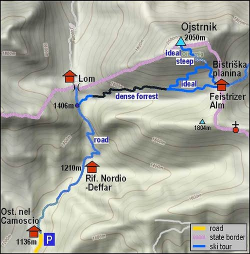 Ojstrnik ski tour - towards the SW