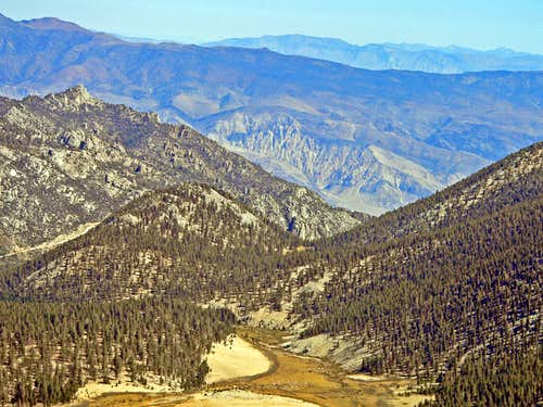 Over Horseshoe Meadows and Owens Valley to the Inyo Mtns. from Trail Peak