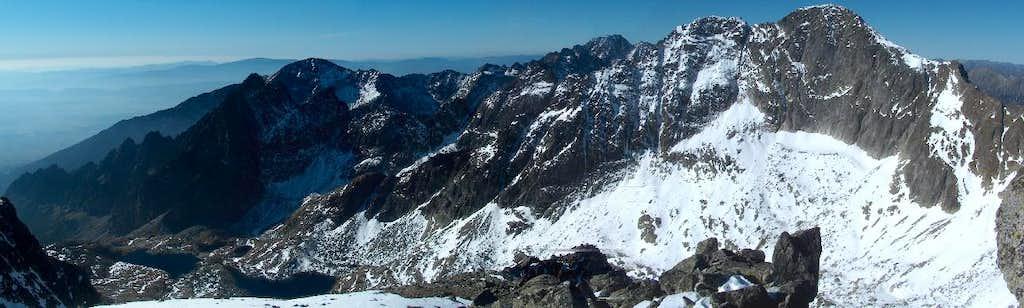 Western panorama to Ľadový štít, from Baranie Rohy
