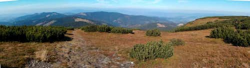Western panorama from the top of Pilsko, to the rest of the Beskides