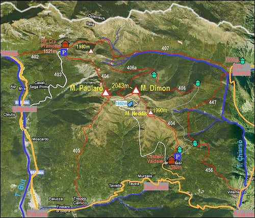 Monte Paularo and Monte Dimon map