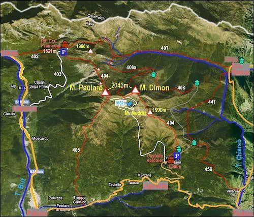 Monte Paularo and Monte Dimon map