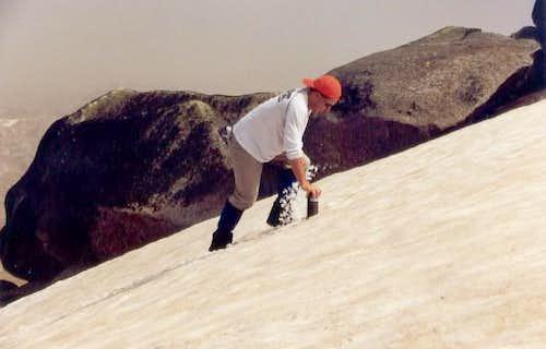 climbing snow / ice on the...