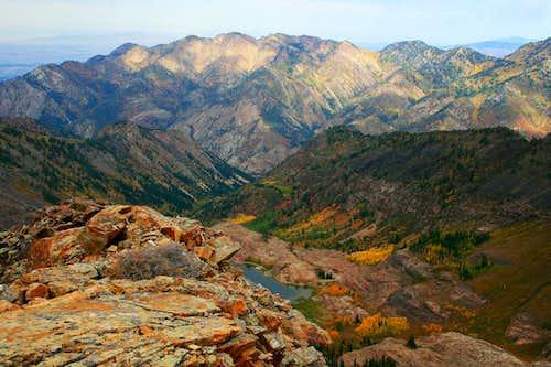Wildcat Ridge and Lake Blanche, via Sundial Peak summit.