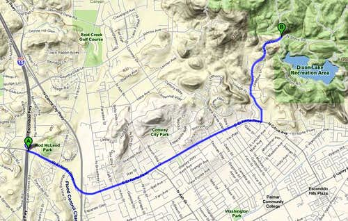Map to Daley Ranch
