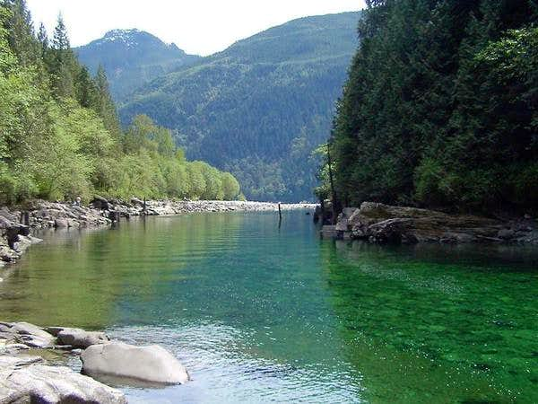 The startling green waters of...