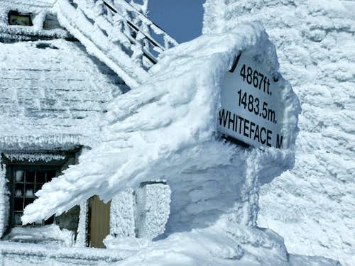 Rime Ice On The Whiteface Summit Sign