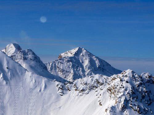 Twin Peaks and the moon behind Cardiac Ridge