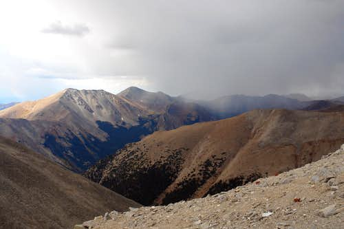 Storm clouds: view from south ridge of  Mt. Shavano