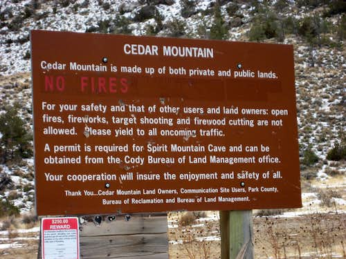 Cedar Mountain sign