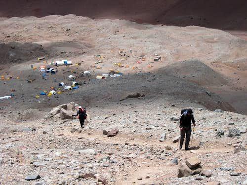 Starting an Acclimatization Hike Above Base Camp