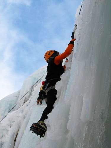 ice wall in meygun, hameloon valley, tehran, iran