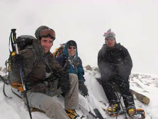 On the summit in a winter storm