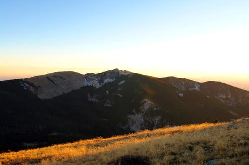 Sunset, view from the slopes of Santa Fe Baldy