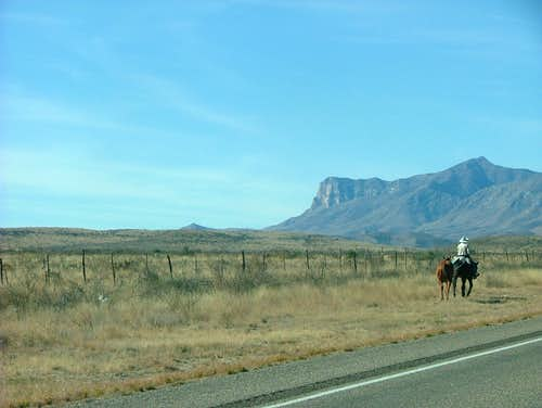 Cowboy and a mule on my way to Guadalupe Peak.