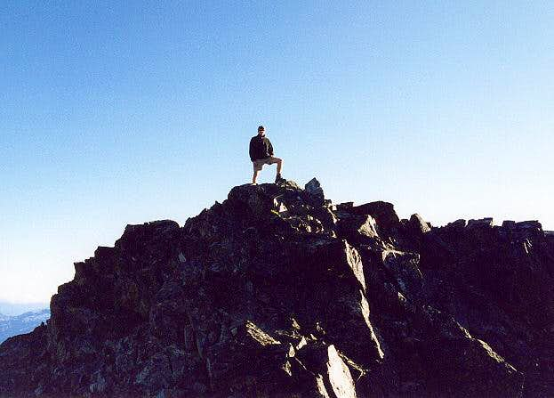 Jeff Campbell standing atop...