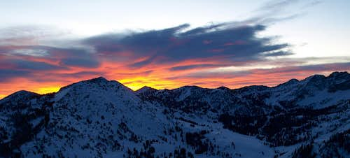 sunrise over Wolverine and Albion Basin