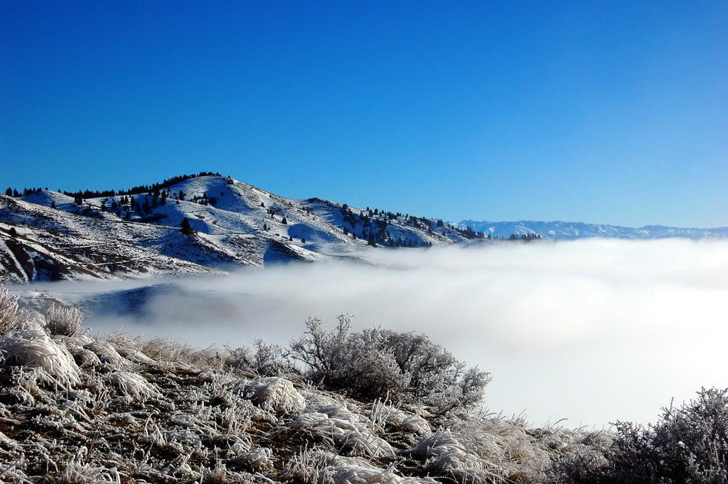 Lucky peak above the clouds