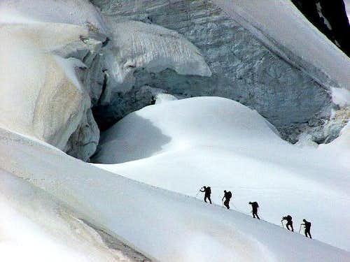 Climbers on Glacier du Géant...