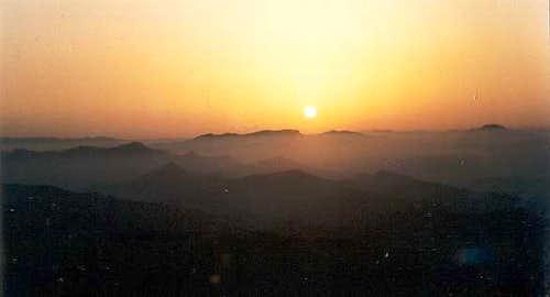 Sunset from the top of the Peñas de Haya