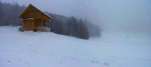 Hut in snow blizzard