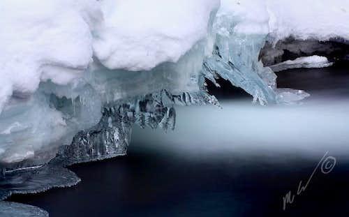 Frozen Grotto Falls close-up