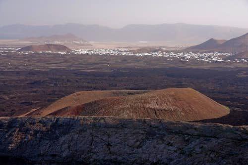 Looking across Montaña Caldereta towards Tinajo