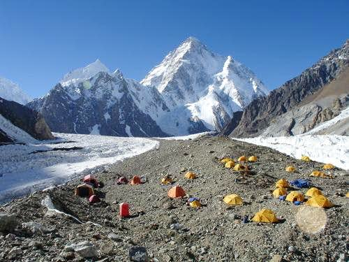 view of k2 from broad peak base camp