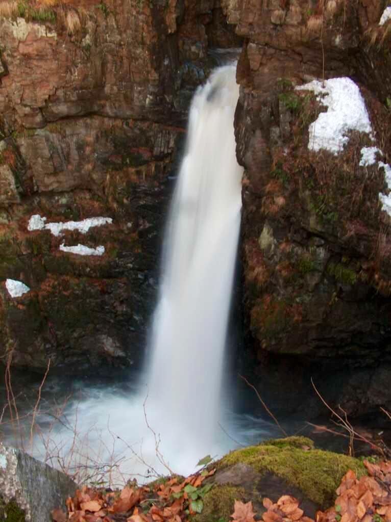 Wodospad Wilczki, one of the tallest in the Sudety, in Międzygórze , on the foot of Śnieżnik