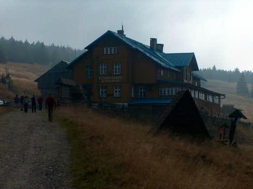 At the hut Schronisko na Śnieżniku, on the way to Śnieżnik from Kletno