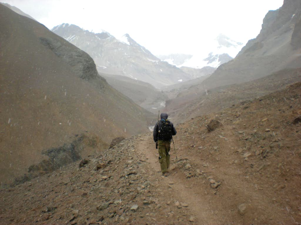 approaching Aconcagua base camp