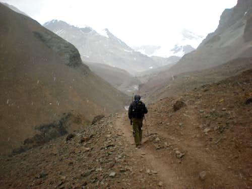 approaching Aconcagua base camp