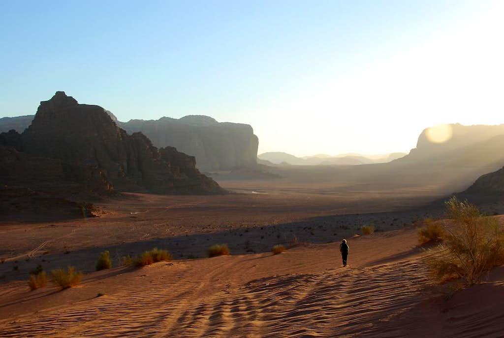 Wadi um Ishrin area in sunset lights