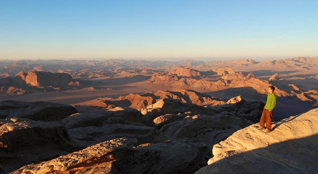 Wadi Rum viewed from Jebel Rum summit at sunset