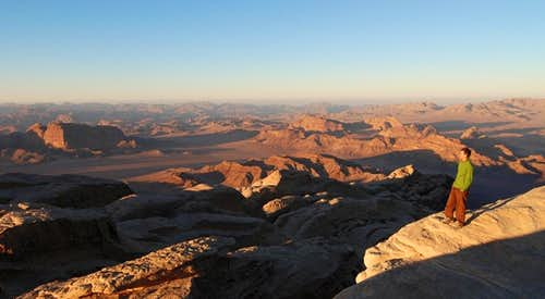 Wadi Rum viewed from Jebel Rum summit at sunset