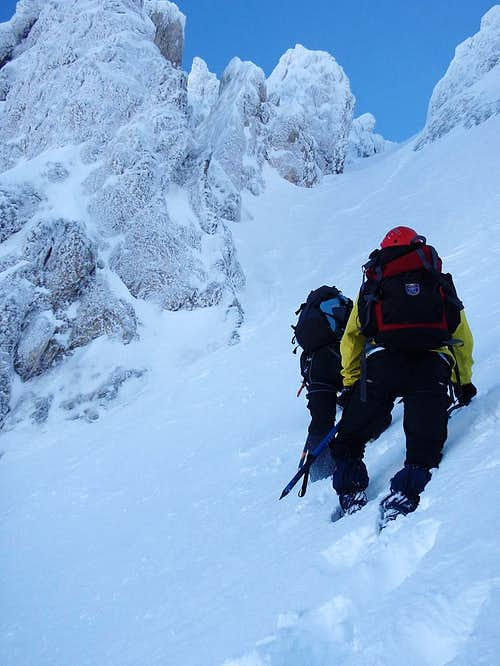 At the bottom of the couloir