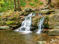 a mini waterfall in the Delaware Water Gap