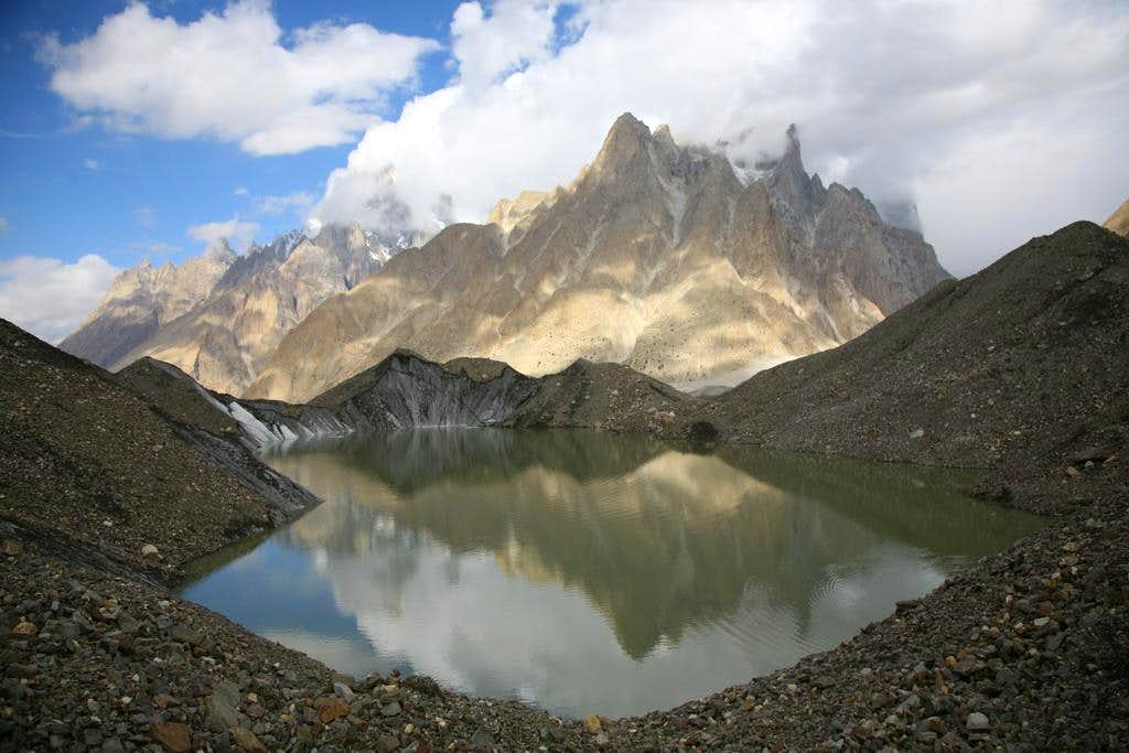 Reflections of Trango and Piayu Peaks in Glacial Lake