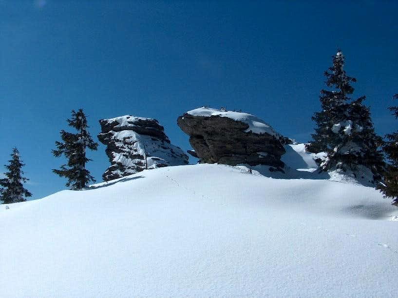 The rocky outcrops on the top Vozka, in the Keprník range