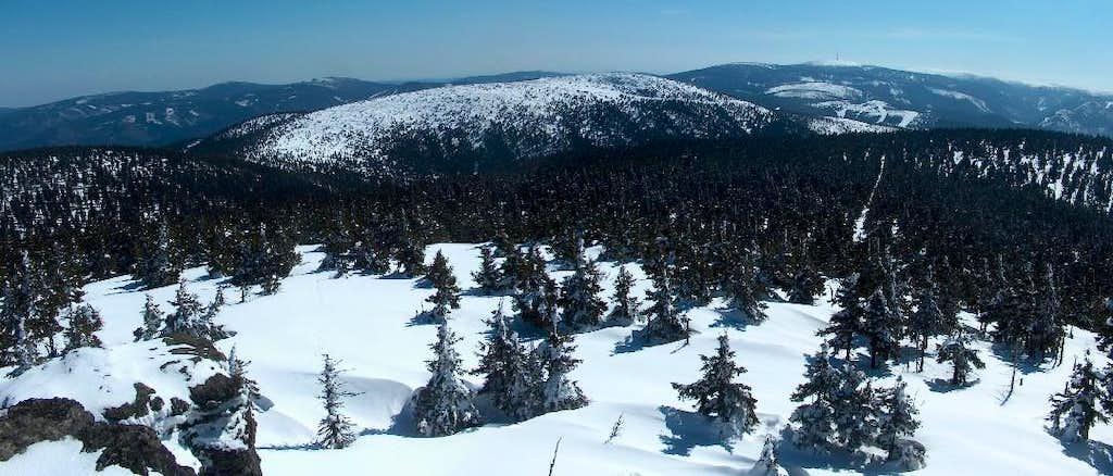 From the top Vozka, in the Keprník range, looking to Červená Hora and Praděd