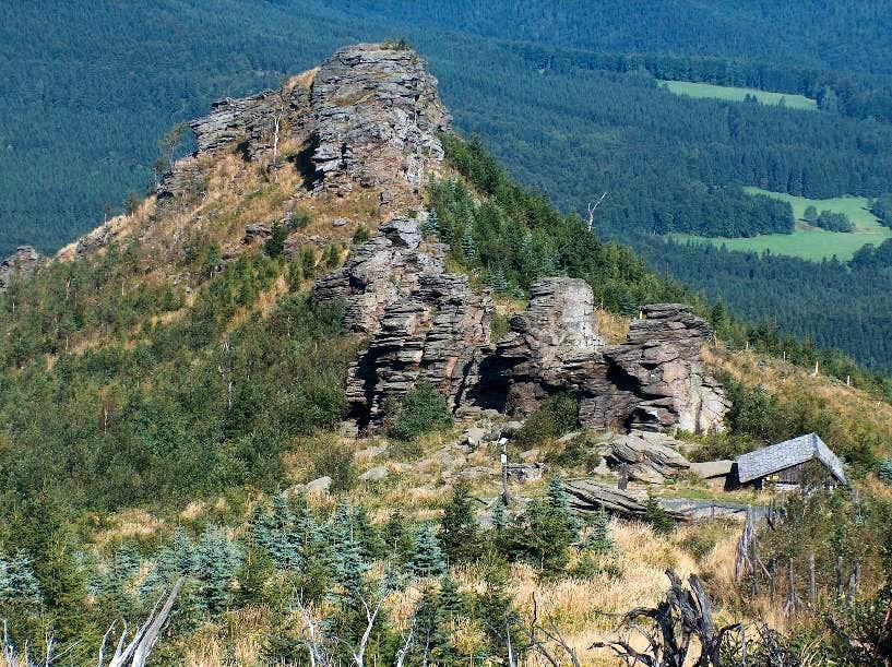 The big rocky outcrops of Obří skály on the north side of <a href=