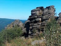 The big rocky outcrops of Obří skály on the north side of <a href= http://www.mbpost.com/trail/267590/-er-k.html >Šerák</a>, in the Keprník massif.