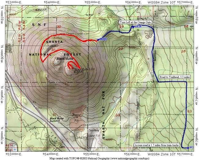 The Black Butte trail (red)...