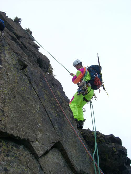 rappelling off the south face