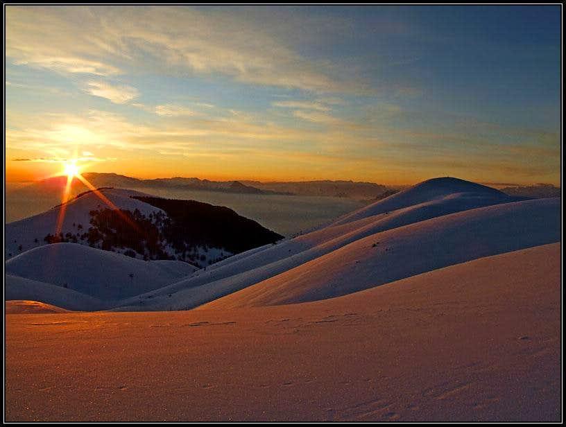 On the summit ridge of Monte Cesen