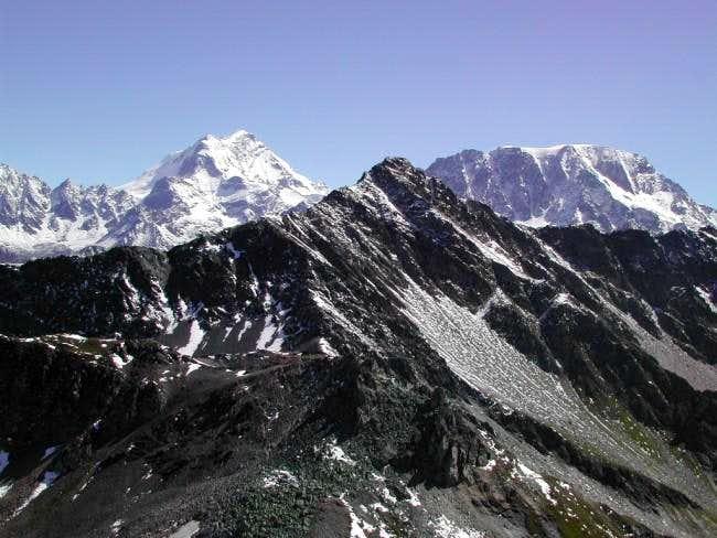 Grand Combin <i>4314m</i> and Mont Velan <i>3734m</i>  in the background behind Pointe de Drône <i>2949m</i>