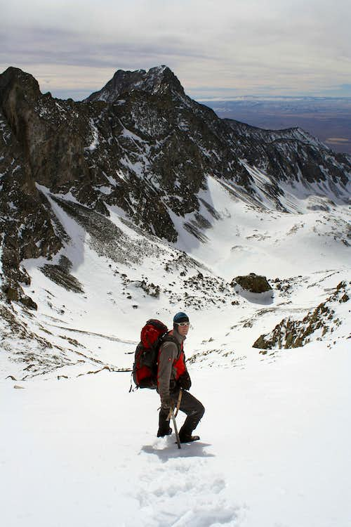Descending Ellingwood\'s south face in winter