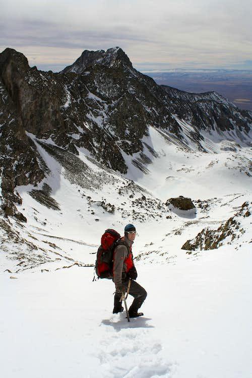 Descending Ellingwood's south face in winter